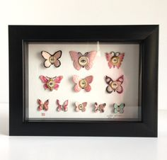 Cabinet of Curiosities Specimen no.151 - The Pink Pearl Moth Eye Flies - original 3D insect paintings by Mab Graves