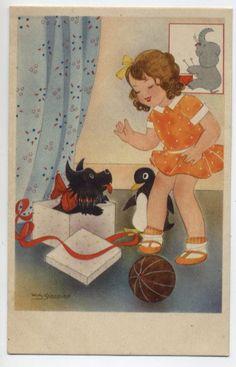 Vintage Willy Schermele Scottie postcard