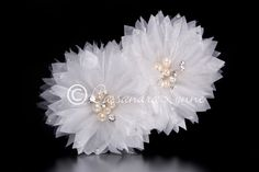 White Bridal Hair Flower with Ivory Pearls