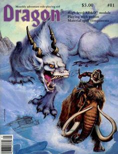"""oldschoolfrp:  An arctic encounter by Steve Peregrine, cover of Dragon Magazine #81, TSR, January 1984.   """"Why Mammoths Became Extinct"""""""
