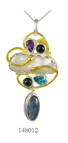 White Freshwater Pearl, Blue Kyanite, Iolite, African Amethyst and Baby Blue Topaz pendant - Spring Frost Collection
