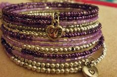 Purple seed bead memory wire bracelet