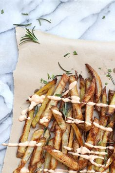 Oven baked potato fries with herbed sea salt.