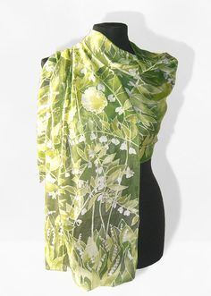 long silks scarves  lily of the valley  hand painted by MinkuLUL, $63.00