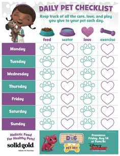 Taking care of a pet should be fun, not a list of chores. Keep the kids motivated with this daily pet checklist from Doc McStuffins Pet Vet!