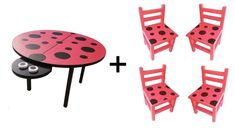 Eye-catching combo set of our large ladybird table and 4 matching chairs. Handmade in the Eastern Cape from solid wood, with handpainted details. Kids Table And Chairs, Table And Chair Sets, Solid Pine, Solid Wood, Joinery, Cute Kids, Tables, Kids Rugs, Strong