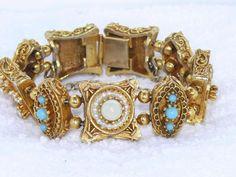 Vintage Signed ART Faux Pearl & Turquoise Bracelet Etruscan Revival Slide Panel #Art #Panel