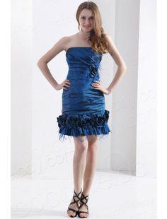 Strapless Short Mini Taffeta Blue Party Dress
