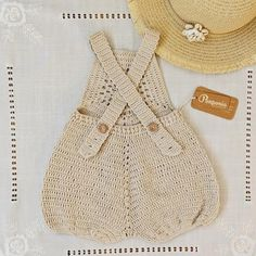 Crochet Romper Stone color 100% Cotton Hand knitted Designed by Ponponia