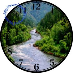 """Dark Green Forest surrounding a Rushing River Art - -DIY Digital Collage - 12.5"""" DIA for 12"""" Clock Face Art - Crafts Projects by CocoPuffsDesigns on Etsy"""