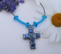 Jewelled cross small silver cross 5 blue by LiloLilsEmporium