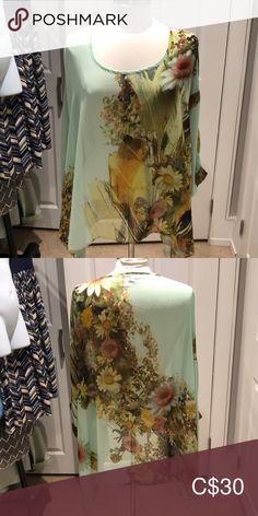 NADO /Floral / Sheer Poncho Blouse/ Size M NADO/ Poncho Blouse/ Sheer/ Floral On Light Green Background/ Gently Worn / NADO Tops Tunics