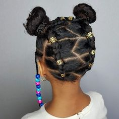 Buns and Beads- hairstyles for curly little girls - Up do Braid Hair Styles - Baby Girl Hairstyles, Natural Hairstyles For Kids, Black Girls Hairstyles, Afro Hairstyles, Toddler Hairstyles, Ethnic Hairstyles, Black Girl Braids, Girls Braids, Curly Hair Styles