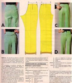 fixing fitting issues with pants before/after/pattern adjustment.Pattern adjustments on trousers in Spanish.I think a lot of my pants are too long in the hip area.images attach c 1 Sewing Pants, Sewing Clothes, Diy Clothes, Techniques Couture, Sewing Techniques, Dress Sewing Patterns, Clothing Patterns, Fashion Sewing, Diy Fashion
