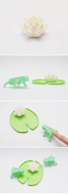 3D printed jumping frogs game designed by Matthijs Kok.