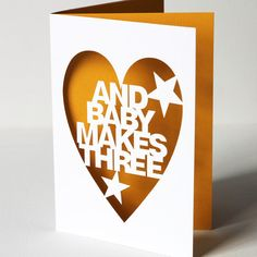 Papercut Celebration Greetings Card  And Baby Makes by Storeyshop