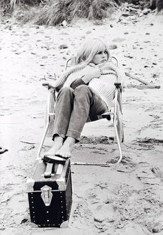 bridget bardot in a cozy cable knit sweater