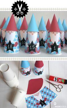 Für alle, die noch auf die Schnelle einen Adventskalender zum Basteln suchen, habe ich diesen Vorschlag: Weihnachtswichtel aus Pappbech...