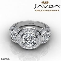 db3700a0981d 3 Stone Halo Pave Bezel Set Round Diamond Engagement Ring 14k White Gold.  Cadenas