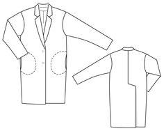 Płaszcz w oversayz stylu - numer wzorca 128 magazynu 8/2014 Burda - wzór płaszcz Burdastyle.ru