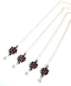 25% OFF SALE, 4 Matching Bridesmaids Necklaces, Genuine Red Garnet Gemstones, FW Pearls, Sterling Silver, Ready to Ship, Gift Box, FREEsHIP