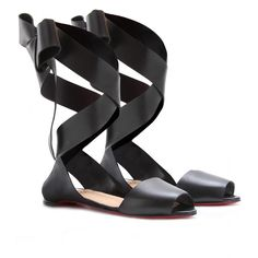 Christian Louboutin Minima leather ribbon-tiw ballerina sandals. Absolutely the best flat black sandal out there.