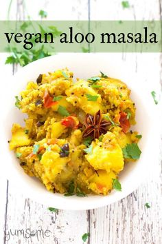 #Vegan #aloo #masala is a #mildly-spiced mixture of #fried #mashed #potatoes, #onion, and #tomato. It's a fantastic meal at any time of the day but it's especially great for #breakfast. | yumsome.com Vegan Indian Recipes, Best Vegan Recipes, Vegan Dinner Recipes, Curry Recipes, Vegetarian Recipes, Healthy Recipes, Vegan Meals, Potato Recipes, Vegetable Recipes