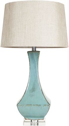 Features:  Table Lamp.  Material: Ceramic.  Linen Like Shade