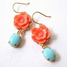 coral and teal earrings .. So cute!!