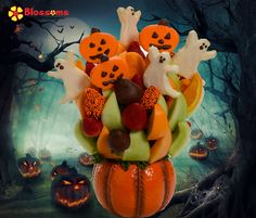 Blossoms Fruit Arrangements #trickortreat does not need to be candy to be sweet. Get your kids to eat fruit this Halloween with our Fun, Festive Fruit Arrangements. #Halloweenpartyideas Check out our full line up at www.blossomsfruit... or call toll free at 1-877-71FRUIT We deliver across Canada Same Day scent free fruit bouquet are great for all occasions and make great gifts ideas or decorations from a proud Canadian Company. Great alternative to traditional flowers or fruit baskets