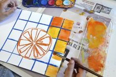 Citrus fruits in complementary colors 7th Grade Art, Third Grade, Color Art Lessons, Fruit Art Kids, Art Classroom Management, Summer Art Projects, Elements Of Color, Middle School Art, Art Plastique