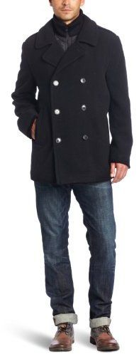 Calvin Klein Men's Wool Peacoat with Bib - $59