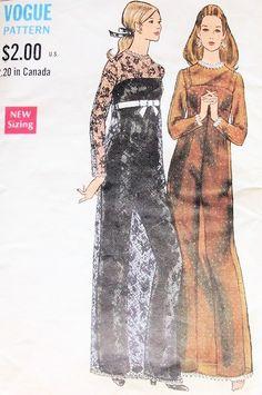 1960s MOD Evening Dress and Jumpsuit Pattern VOGUE 7596 STRIKING Sheer Over Dress and Figure Hugging Jumpsuit Bust 36 Vintage Sewing Pattern FACTORY FOLDED