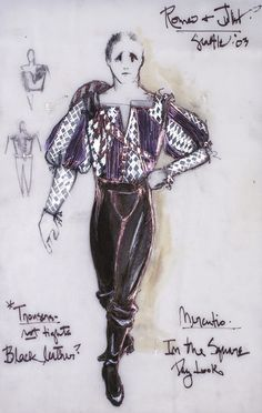 David Murin designed costumes for Shakespeare's play Romeo and Juliet at the Seattle Repertory Theatre directed by Sharon Ott Romeo And Juliet Clothing, Romeo And Juliet Costumes, Romeo Costume, Scary Costumes, Theatre Costumes, Fortune Teller Costume, Zombie Drawings, Costume Design Sketch, Tam O' Shanter