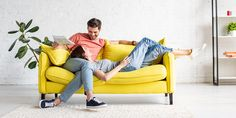 happy man with smiling girlfriend relaxing on yellow sofa under air conditioner at home , Home Interior Design, Interior Architecture, Interior Decorating, Yellow Sofa, Man Projects, The Better Man Project, 5 Ways, Home Furnishings, Girlfriends