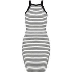 Miss Selfridge Petites Stripe Bodycon Dress, White ($33) ❤ liked on Polyvore featuring dresses, petite, striped maxi dresses, maxi dresses, white dress, jersey maxi dress and white midi dress