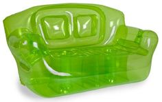 Fun and colorful, surprisingly comfortable Bubble Inflatables Garden Green Inflatable Couch, perfect for college dorms, sleep-overs, play rooms and more. Couches are super-sturdy, made from thick 0.40mm 6P FREE PVC, and can hold up to 500-pound, so they're not just for kids (although kids sure do love 'em). Each measures a full 72 by 30 by 38-inch, and can hold 2 adults or 3-4 children. Drink holders in each arm keep your beverage close...