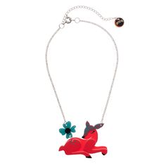 Limited edition, original Erstwilder Dot Dozing Deer necklace in red. Designed by Louisa Camille Melbourne. Deer Necklace, Pendant Necklace, Resin Jewelry, Christmas Themes, Dots, Red, Brooches, Accessories, Stuff To Buy