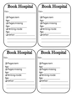 Good Idea - Make some like it add w/ Cleaning & reglue, etc. Book Hospital Admittance Slips - New School Library Lessons, Library Lesson Plans, Middle School Libraries, Elementary School Library, Class Library, Library Skills, Library Science, Library Activities, Library Books
