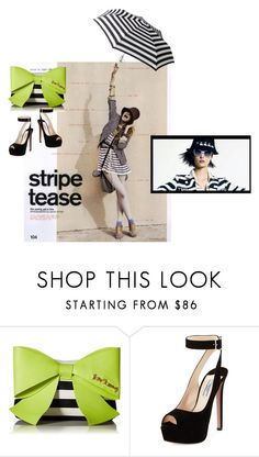 """Stripe Tease"" by desperer ❤ liked on Polyvore featuring Betsey Johnson, Prada and stripes"