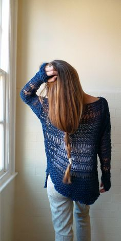 Cotton Sweater in Marine Blue with an asymmetrical от ileaiye