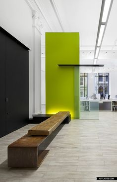 Office Lobby love the green lack and leather