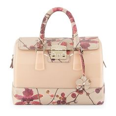 Furla jelly satchel bag with floral-print leather contrast.