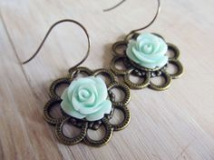 Minty green rose floral earrings on antique by SeptemberWillow