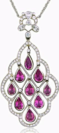 Tiffany & Co Platinum Diamond Pink Sapphire Pendant