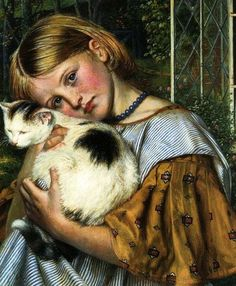 """A Girl with a Cat"" (1860) by Robert Braithwaite Martineau via The Cat Museum of San Francisco.  https://www.facebook.com/Cat-Museum-of-San-Francisco-157616467585120/"