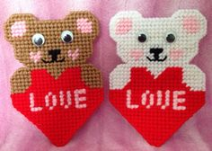 Valentines Heart Teddy Bear Love Plastic by CanvasCreations4U