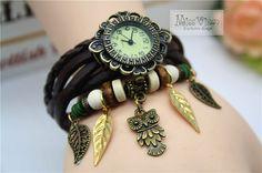 cute owl charm bracelet battery operated waist watch cottage chic by missvirgouk