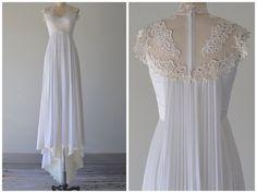 Gorgeous 1970's Lace and Chiffon Wedding Dress listed at @ledbellyvintage #vintage #weddingdress #1970sfashion #lace #chiffon #usedweddingdress #austinweddings #austinvintage #ledbellyvintage #love