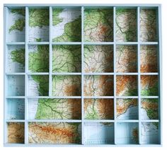 Use your imaginations, what a great shadowbox or printers tray. Maps where you have been, where you want to go, special places like honeymoon, or where your kids were born. Create and have unlimited possibilites.